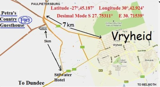 Map Petra\'s Country Guesthouse in Vryheid  Zululand  KwaZulu Natal  Südafrika