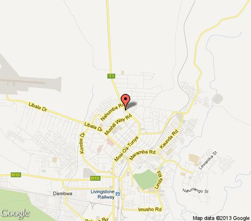 Map White Rose Lodge in Livingstone CBD  Livingstone  Zambia