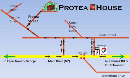 Map Protea Guest House in Knysna  Garden Route  Western Cape  South Africa