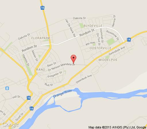 Map Aardwolf Backpackers in Upington  Green Kalahari  Northern Cape  South Africa