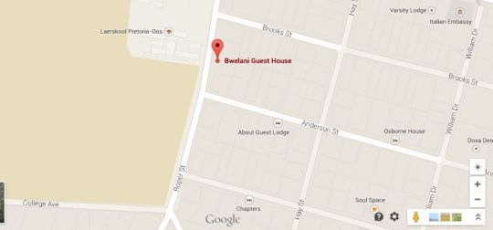 Map Bwelani Guest House  in Brooklyn (PTA)  Pretoria Central  Pretoria / Tshwane  Gauteng  Afrique du Sud