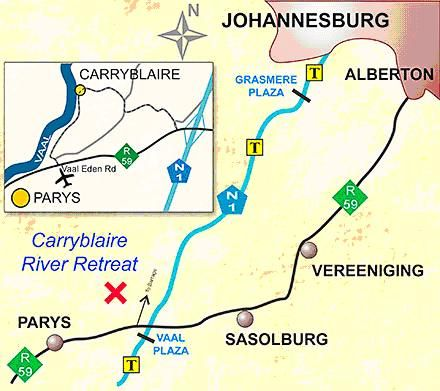Map Carryblaire River Retreat in Parys  Fezile Dabi (Northern Free State)  Free State  South Africa