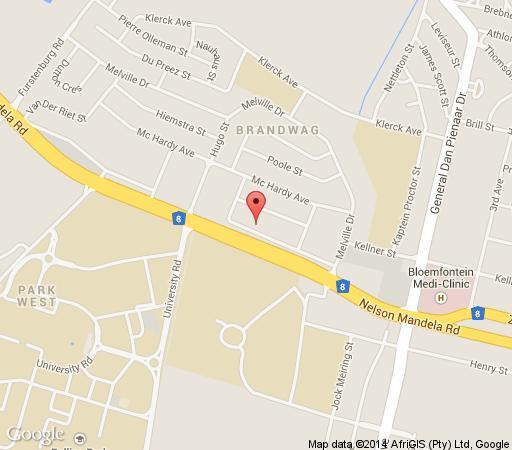 Map Anta Boga Hotel in Bloemfontein  Mangaung  Free State  South Africa