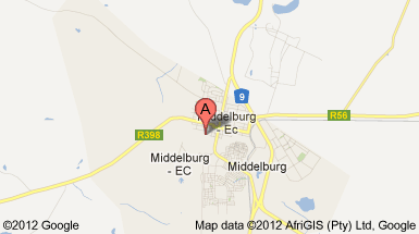 Map Celtis Country Lodge in Middelburg (EC)  Stormberg District  Eastern Cape  South Africa