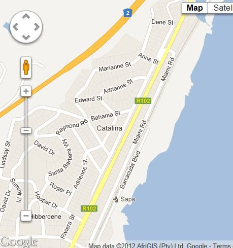 Map Catalina House in Hibberdine  South Coast (KZN)  KwaZulu Natal  South Africa