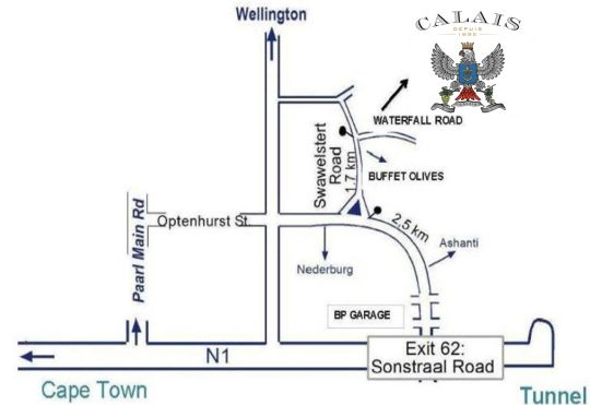 Map Calais Wine Estate in Paarl  Cape Winelands  Western Cape  South Africa