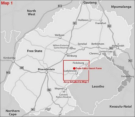 Map Twin Oaks Guest Farm  in Ladybrand  Thabo Mofutsanyana  Free State  South Africa