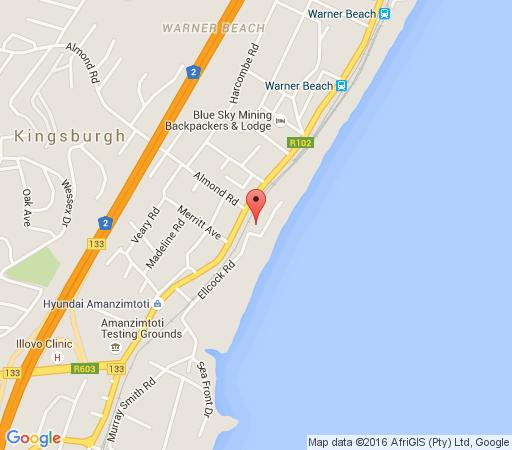 Map Deep Blue Guest House & Lodge in Amanzimtoti  South Coast (KZN)  KwaZulu Natal  South Africa