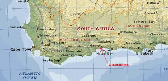 Map Interlaken Guest House in Wilderness  Garden Route  Western Cape  South Africa
