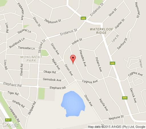 Map Du Barry Guesthouse in Waterkloof Ridge  Pretoria East  Pretoria / Tshwane  Gauteng  South Africa