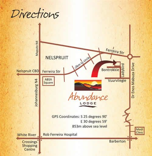 Map Abundance Lodge in Nelspruit  Lowveld  Mpumalanga  South Africa