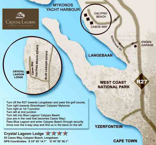 Map West Coast Life Lodges in Langebaan  West Coast (WC)  Western Cape  South Africa