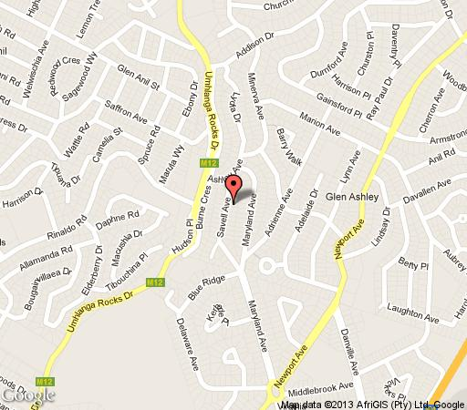 Map Sanchia Luxury Guesthouse in Glenashley  Northern Suburbs (DBN)  Durban and Surrounds  KwaZulu Natal  South Africa