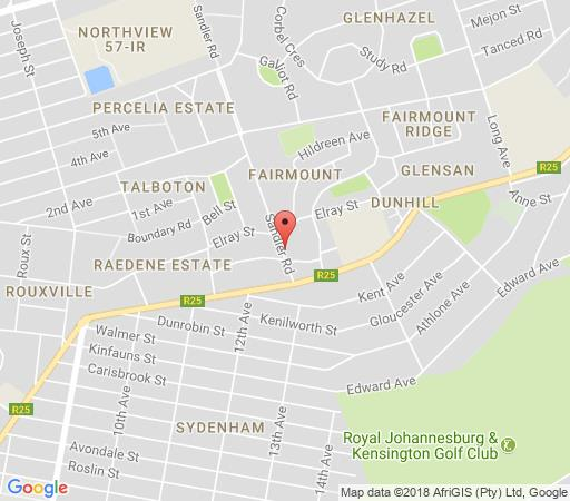 Map Genesis All- Suite Hotel in Fairmount  Johannesburg East  Johannesburg  Gauteng  South Africa