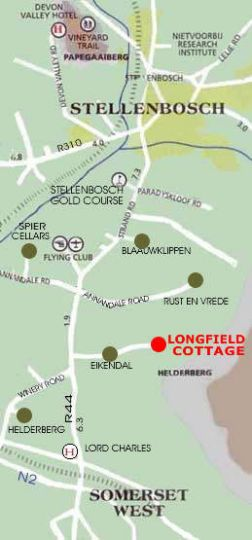 Map Longfield House in Stellenbosch  Cape Winelands  Western Cape  South Africa