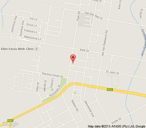 Map Karoo Sun Guest House in Oudtshoorn  Klein Karoo  Western Cape  South Africa