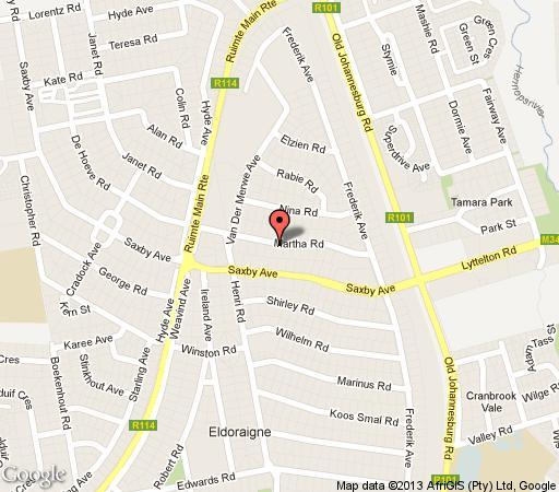 Map La Gratitude Guest House in Eldoraigne  Centurion  Pretoria / Tshwane  Gauteng  Afrique du Sud