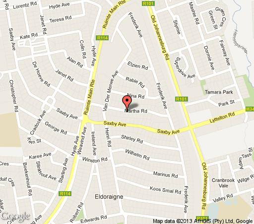 Map La Gratitude Guest House in Eldoraigne  Centurion  Pretoria / Tshwane  Gauteng  Suid-Afrika