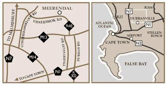 Map Meerendal Boutique Hotel  in Durbanville  Northern Suburbs (CPT)  Cape Town  Western Cape  South Africa