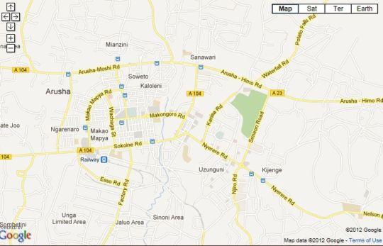 Map Palace Hotel Arusha in Arusha  Tanzania