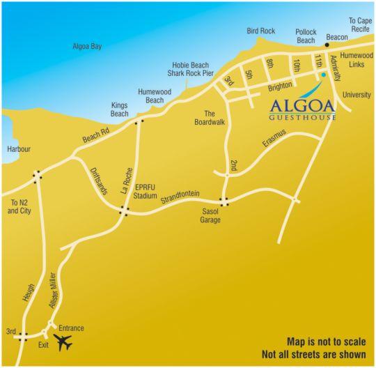 Map Algoa Guest House in Summerstrand  Port Elizabeth  Cacadu (Sarah Baartman)  Eastern Cape  South Africa