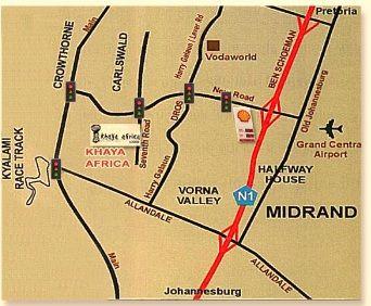 Map Khaya Africa  in Carlswald  Midrand  Johannesburg  Gauteng  South Africa