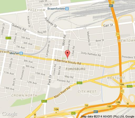 Map The Orient Hotel in Fordsburg  Johannesburg CBD  Johannesburg  Gauteng  South Africa