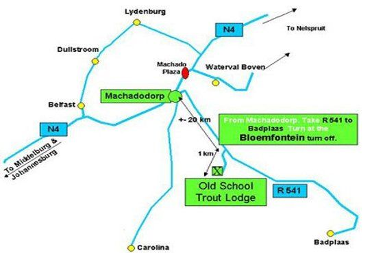 Map Old School Trout Lodge in Machadodorp  Highlands  Mpumalanga  South Africa