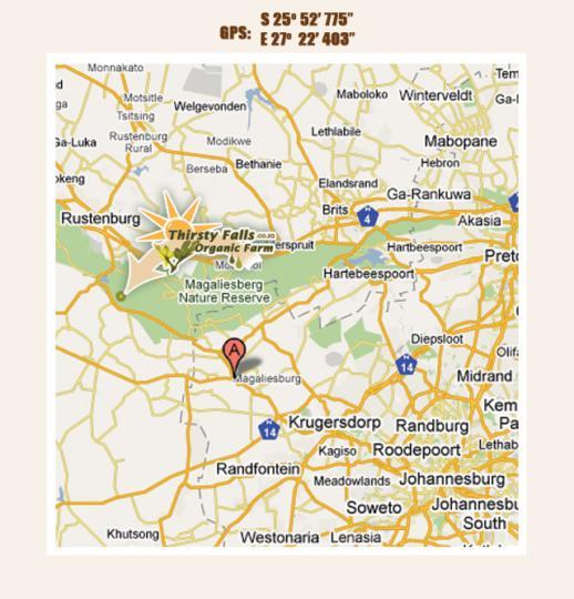 Map Thirsty Falls Guest Farm in Magaliesburg  West Rand  Gauteng  South Africa