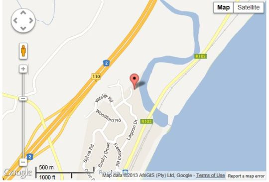 Map Eden River Lodge in Scottburgh  South Coast (KZN)  KwaZulu Natal  South Africa