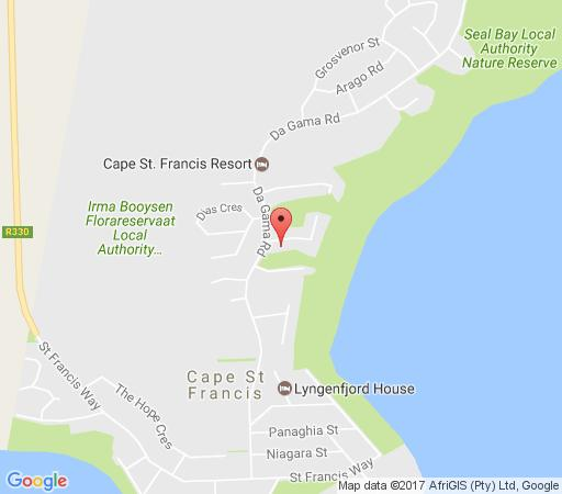 Map Nautilus Beach House in Cape St. Francis  Cacadu (Sarah Baartman)  Eastern Cape  South Africa