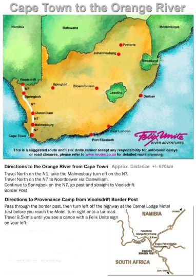 Map Orange River Cabanas in Noordoewer  Karas  Namibia