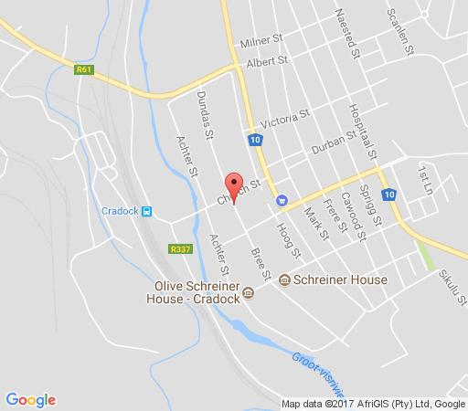 Map Oude Pastorie Kothuise in Cradock  Stormberg District  Eastern Cape  South Africa