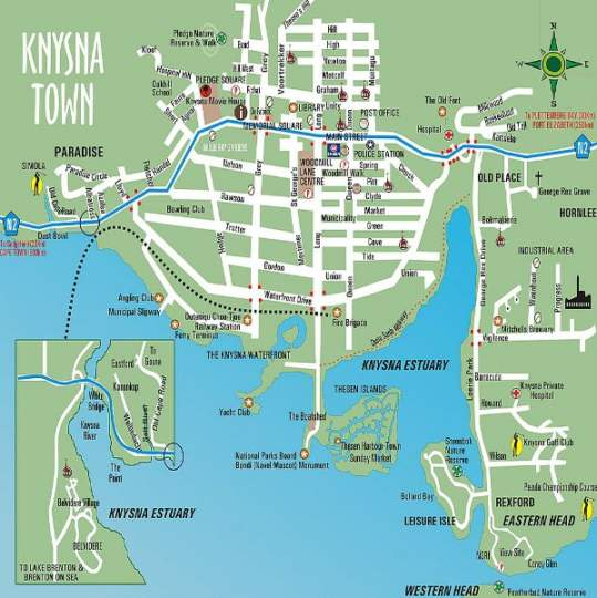 Map TwoAngels in Knysna  Garden Route  Western Cape  South Africa