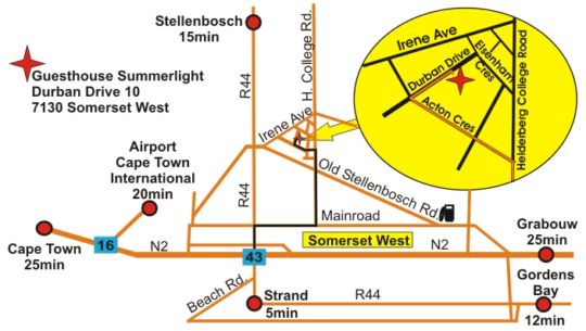 Map Guesthouse Summerlight in Somerset West  Helderberg  Western Cape  South Africa