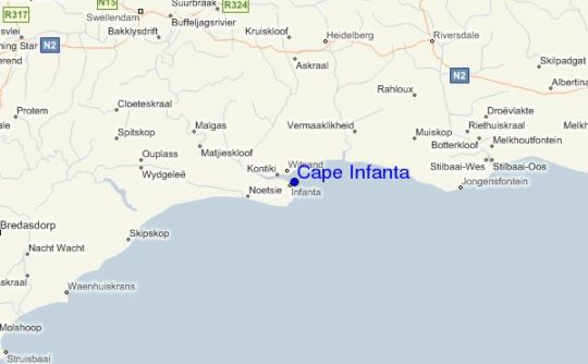 Map Infanta self catering  Accommodation in Infanta  Overberg  Western Cape  South Africa