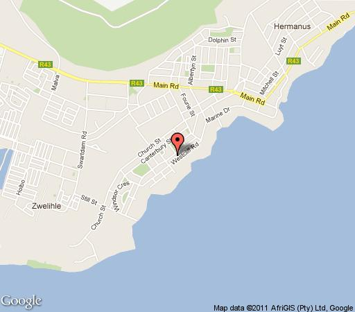 Map On the Cliff Guest House in Hermanus  Overberg  Western Cape  South Africa