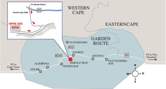 Map Oppiesee Self Catering in George  Garden Route  Western Cape  South Africa