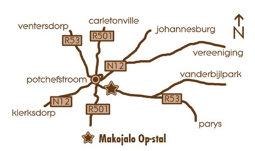Map Makojalo Op-stal in Potchefstroom  Southern (NW)  North West  South Africa