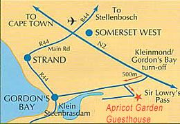 Map Apricot Gardens Boutique Guesthouse in Gordon's Bay  Helderberg  Western Cape  South Africa