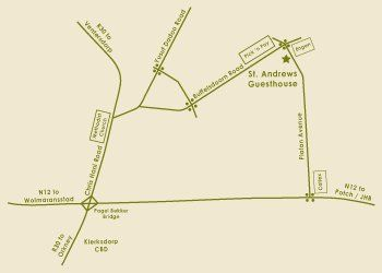 Map St. Andrews Exclusive Guesthouse in Klerksdorp  Southern (NW)  North West  South Africa
