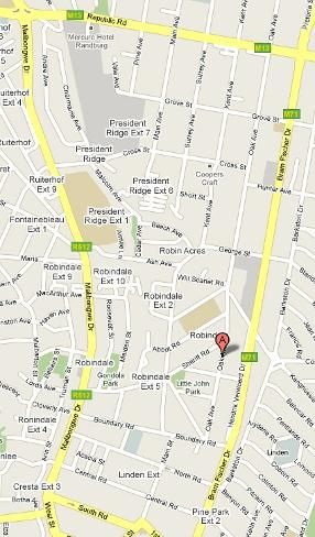 Map Dossa Guest House in Robindale  Randburg  Johannesburg  Gauteng  South Africa