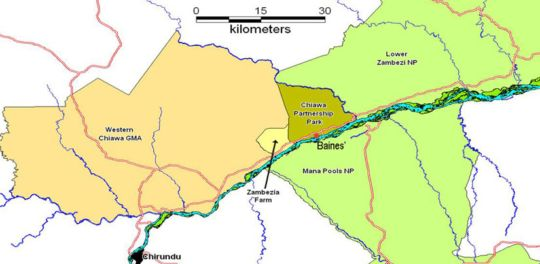 Map Baines\' River Camp  in Lusaka  Zambia