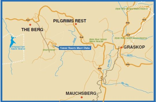 Map Mount Sheba, A Forever Lodge in Pilgrim's Rest  The Panorama  Mpumalanga  South Africa