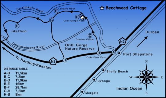 Map Beechwood Cottage in Oribi Gorge  South Coast (KZN)  KwaZulu Natal  South Africa