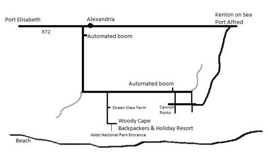 Map Woody Cape Nature Lodge in Alexandria  Cacadu (Sarah Baartman)  Eastern Cape  South Africa