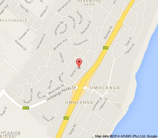 Map Oyster Cottages in Umhlanga Rocks  Umhlanga  Northern Suburbs (DBN)  Durban and Surrounds  KwaZulu Natal  South Africa
