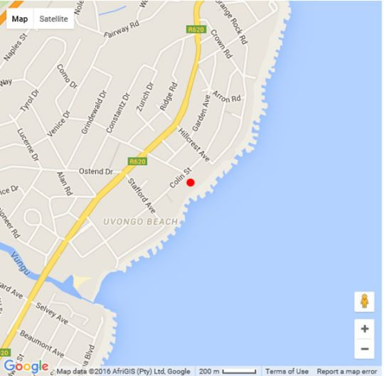 Map Aquarius Boutique Penthouses Uvongo Main Beach in Uvongo  South Coast (KZN)  KwaZulu Natal  South Africa