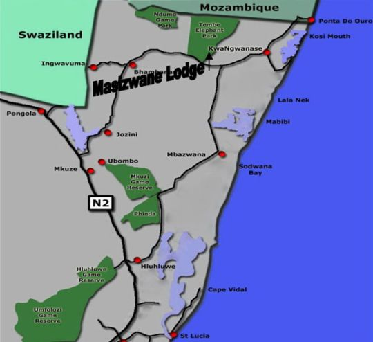 Map Royal Thonga Safari Lodge in Kosi Bay  Zululand  KwaZulu Natal  South Africa