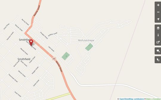 Map Bloekomhuis in Smithfield  Xhariep (Southern Free State)  Free State  South Africa